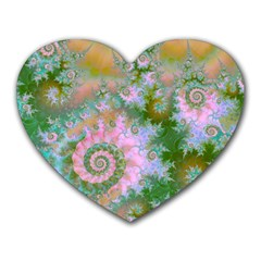 Rose Forest Green, Abstract Swirl Dance Mouse Pad (heart)