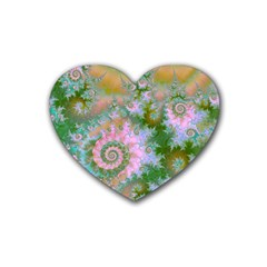 Rose Forest Green, Abstract Swirl Dance Drink Coasters (Heart)