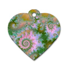 Rose Forest Green, Abstract Swirl Dance Dog Tag Heart (Two Sided)