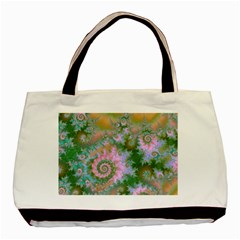 Rose Forest Green, Abstract Swirl Dance Twin-sided Black Tote Bag