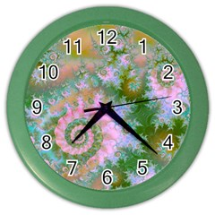 Rose Forest Green, Abstract Swirl Dance Wall Clock (Color)