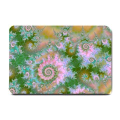 Rose Forest Green, Abstract Swirl Dance Small Door Mat
