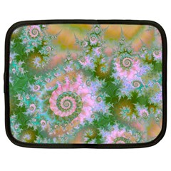 Rose Forest Green, Abstract Swirl Dance Netbook Sleeve (large)