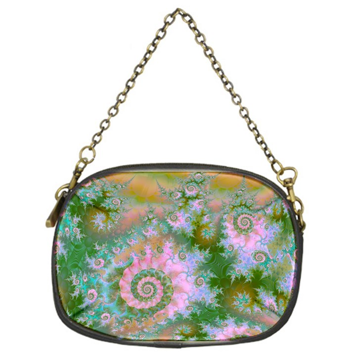 Rose Forest Green, Abstract Swirl Dance Chain Purse (One Side)