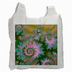 Rose Forest Green, Abstract Swirl Dance White Reusable Bag (One Side)