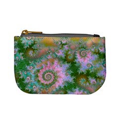 Rose Forest Green, Abstract Swirl Dance Coin Change Purse