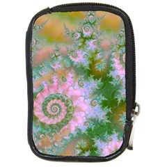 Rose Forest Green, Abstract Swirl Dance Compact Camera Leather Case