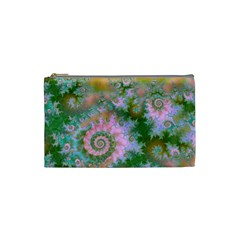 Rose Forest Green, Abstract Swirl Dance Cosmetic Bag (Small)