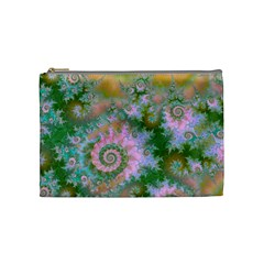 Rose Forest Green, Abstract Swirl Dance Cosmetic Bag (Medium)