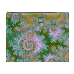 Rose Forest Green, Abstract Swirl Dance Cosmetic Bag (XL)