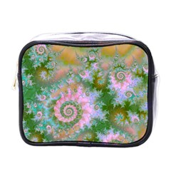 Rose Forest Green, Abstract Swirl Dance Mini Travel Toiletry Bag (one Side)