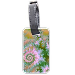 Rose Forest Green, Abstract Swirl Dance Luggage Tag (Two Sides)