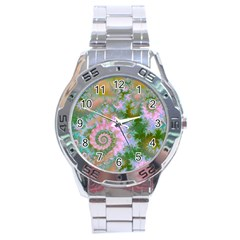 Rose Forest Green, Abstract Swirl Dance Stainless Steel Watch
