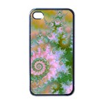 Rose Forest Green, Abstract Swirl Dance Apple iPhone 4 Case (Black) Front