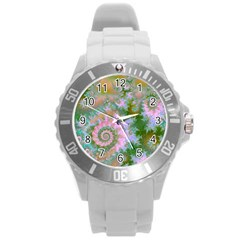 Rose Forest Green, Abstract Swirl Dance Plastic Sport Watch (large)