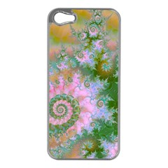 Rose Forest Green, Abstract Swirl Dance Apple iPhone 5 Case (Silver)