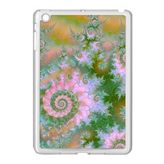Rose Forest Green, Abstract Swirl Dance Apple iPad Mini Case (White)