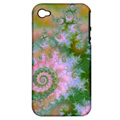 Rose Forest Green, Abstract Swirl Dance Apple Iphone 4/4s Hardshell Case (pc+silicone)