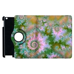 Rose Forest Green, Abstract Swirl Dance Apple iPad 3/4 Flip 360 Case