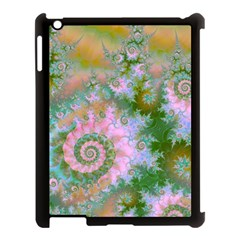 Rose Forest Green, Abstract Swirl Dance Apple iPad 3/4 Case (Black)