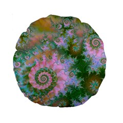 Rose Forest Green, Abstract Swirl Dance 15  Premium Round Cushion