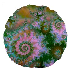 Rose Forest Green, Abstract Swirl Dance 18  Premium Round Cushion