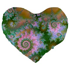 Rose Forest Green, Abstract Swirl Dance 19  Premium Heart Shape Cushion