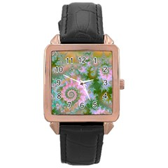 Rose Forest Green, Abstract Swirl Dance Rose Gold Leather Watch