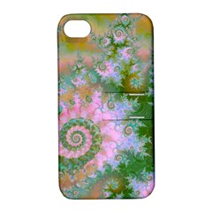 Rose Forest Green, Abstract Swirl Dance Apple iPhone 4/4S Hardshell Case with Stand