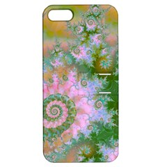 Rose Forest Green, Abstract Swirl Dance Apple iPhone 5 Hardshell Case with Stand