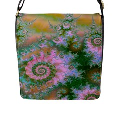 Rose Forest Green, Abstract Swirl Dance Flap Closure Messenger Bag (Large)