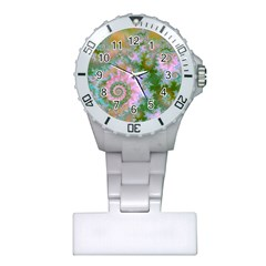 Rose Forest Green, Abstract Swirl Dance Nurses Watch