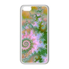 Rose Forest Green, Abstract Swirl Dance Apple iPhone 5C Seamless Case (White)