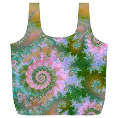 Rose Forest Green, Abstract Swirl Dance Reusable Bag (XL)