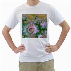 Rose Forest Green, Abstract Swirl Dance Men s T-Shirt (White)