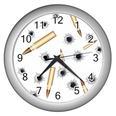Bulletsnbulletholes Wall Clock (silver)