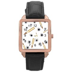 Bulletsnbulletholes Rose Gold Leather Watch