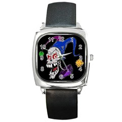 Vaping Jester Square Leather Watch