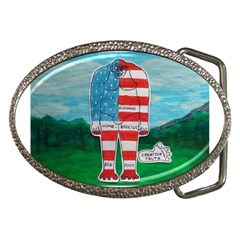 Painted Flag Bigfoot Homo E  Belt Buckle (Oval)