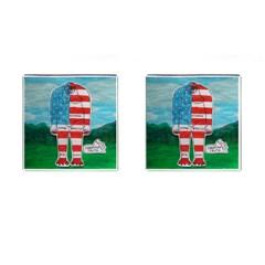 Painted Flag Bigfoot Homo E  Cufflinks (Square)
