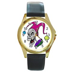 Vaping Jester Round Leather Watch (gold Rim)