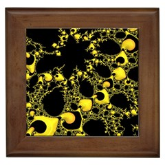 Special Fractal 04 Yellow Framed Ceramic Tile