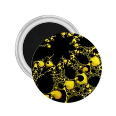 Special Fractal 04 Yellow 2.25  Button Magnet