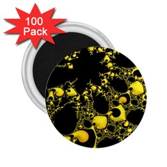 Special Fractal 04 Yellow 2.25  Button Magnet (100 pack)