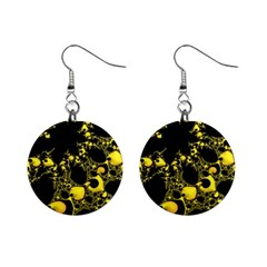 Special Fractal 04 Yellow Mini Button Earrings