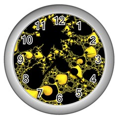 Special Fractal 04 Yellow Wall Clock (Silver)