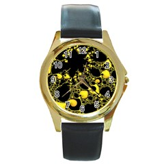 Special Fractal 04 Yellow Round Leather Watch (gold Rim)