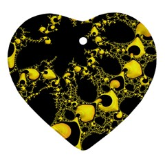 Special Fractal 04 Yellow Heart Ornament (Two Sides)