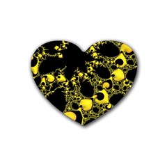 Special Fractal 04 Yellow Drink Coasters 4 Pack (heart)