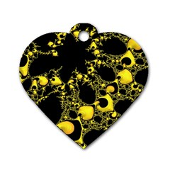 Special Fractal 04 Yellow Dog Tag Heart (Two Sided)